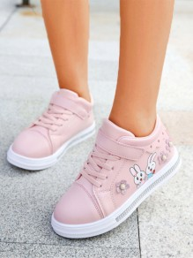 Pink Round Toe Rhinestone Pearl Sweet Ankle Shoes