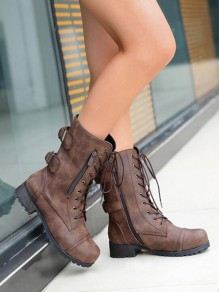 Brown Round Toe Chunky Sequin Fashion Ankle Boots