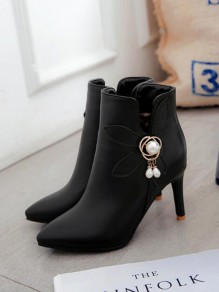 Black Point Toe Stiletto Pearl Metal Decoration Fashion Ankle Boots