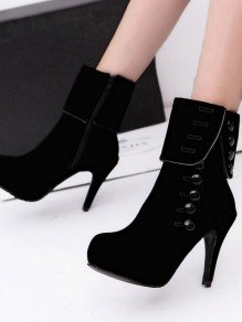 Black Round Toe Buttons Fashion Ankle Boots
