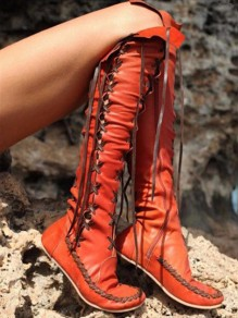 Orange Round Toe Fashion Over-The-Knee Boots