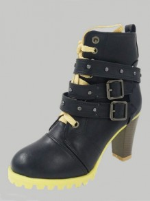Black Round Toe Lace-up Zipper Chunky Fashion Boots