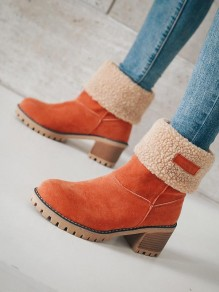 Orange Round Toe Chunky Fashion Ankle Boots