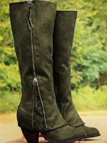 Army Green Round Toe Zipper Sequin Fashion Knee-High Boots