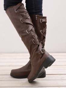 Wine Red Round Toe Flat Fashion Knee-High Boots