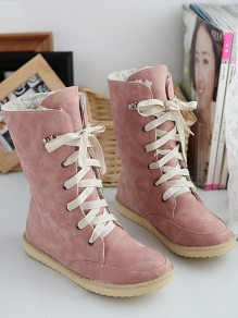 Pink Round Toe Lace-up Fashion Boots