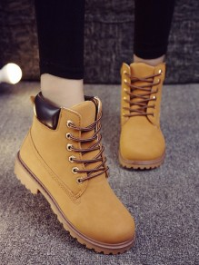 Yellow Round Toe Fashion Ankle Boots