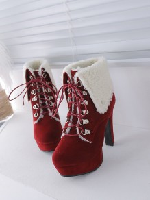 Red Round Toe Chunky Fashion Ankle Boots