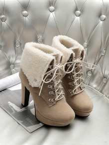Camel Round Toe Chunky Fashion Ankle Boots