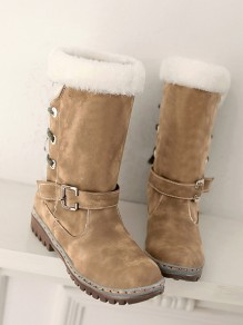 Yellow Round Toe Flat Faux Fur Fashion Mid-Calf Boots