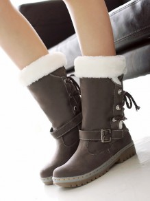 Light Brown Round Toe Flat Faux Fur Fashion Mid-Calf Boots