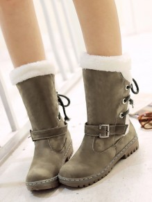 Army Green Round Toe Flat Faux Fur Fashion Mid-Calf Boots