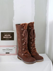Brown Round Toe Flat Faux Fur Fashion Mid-Calf Boots