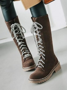 Brown Round Toe Chunky Cross Strap Fashion Mid-Calf Boots