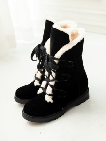 Black Round Toe Lace-up Casual Boots