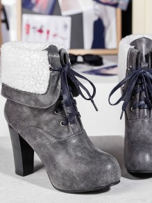 Grey Round Toe Chunky Fashion Ankle Boots