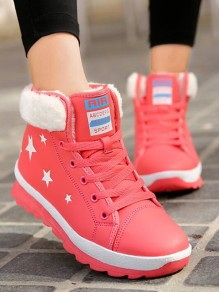 Red Round Toe Print Fashion Ankle Boots