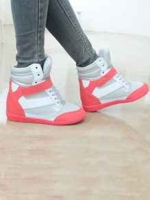 Grey-Red Round Toe Flat Patchwork Cross Strap Fashion Shoes