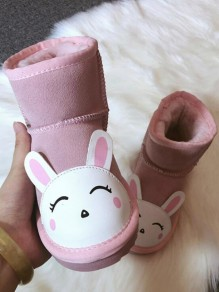 Pink Round Toe Print Fashion Ankle Boots