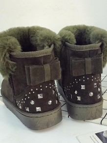 Army Green Round Toe Bow Sequin Fashion Ankle Boots