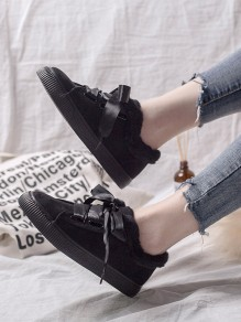 Black Round Toe Lace-up Casual Ankle Shoes