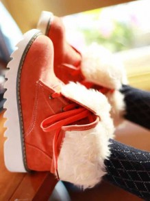 Orange Round Toe Fashion Ankle Boots