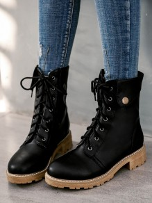 Black Round Toe Flat Fashion Ankle Boots