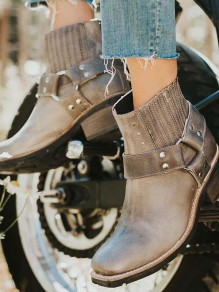 Olive Round Toe Fashion Ankle Boots