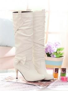 White Round Toe Stiletto Bow Fashion Knee-High Boots