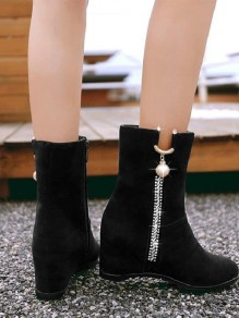 Black Round Toe Flat Metal Rhinestone Pearl Fashion Ankle Boots