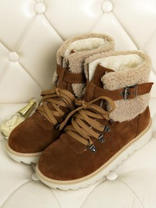 Brown Round Toe Flat Buckle Cross Strap Fashion Ankle Boots