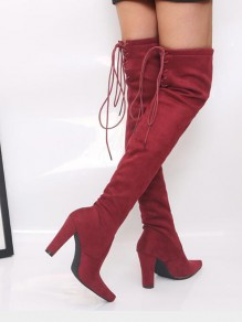 Red Point Toe Chunky Cross Strap Fashion Over-The-Knee Boots