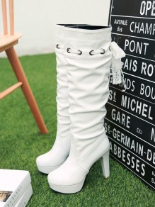 White Round Toe Chunky Cross Strap Fashion Knee-High Boots