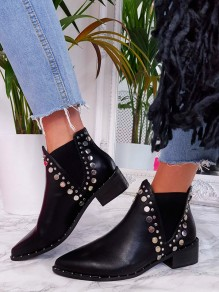 Black Round Toe Flat Sequin Fashion Ankle Boots