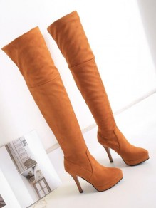 Brown Round Toe Stiletto Fashion Over-The-Knee Boots