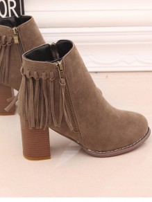 Brown Round Toe Chunky Tassel Fashion Ankle Boots