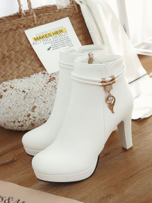 White Round Toe Chunky Rhinestone Fashion Ankle Boots