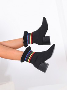 Black Round Toe Chunky Print Ankle Boots