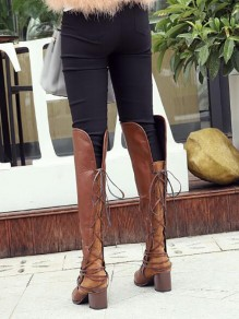 Brown Round Toe Chunky Fashion Knee-High Boots