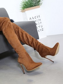 Brown Point Toe Stiletto Fashion Over-The-Knee Boots