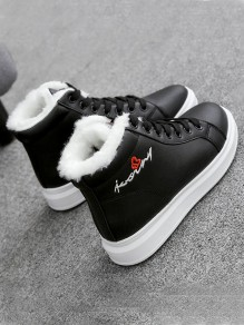 Black Round Toe Flat Embroidery Print Casual Fashion Shoes