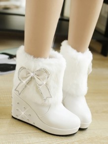 White Round Toe Wedges Bow Rivet Fashion Ankle Boots