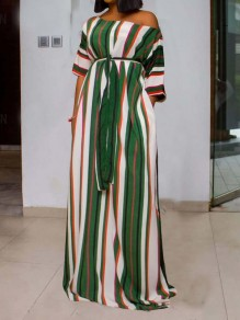Green Striped One Off Shoulder Pockets Bohemian Party Maxi Dress
