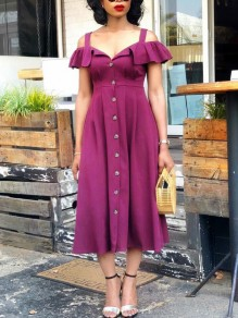 Purple Off Shoulder Buttons Ruffle Pleated Party Maxi Dress