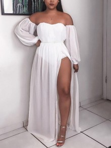 White Off Shoulder Pleated Backless Thigh High Side Slits Bohemian Party Maxi Dress