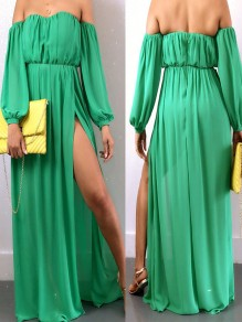 Green Off Shoulder Pleated Backless Thigh High Side Slits Bohemian Party Maxi Dress