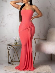 Orange Off Shoulder Knot Bodycon Mermaid Prom Evening Party Maxi Dress