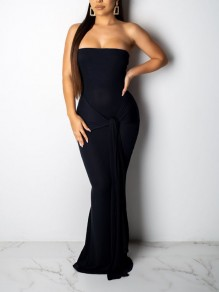Black Off Shoulder Knot Bodycon Mermaid Prom Evening Party Maxi Dress