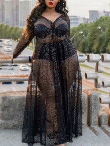 Black Grenadine Bright Wire Cut Out Sheer Three-piece V-neck Long Sleeve Party Clubwear Maxi Dress