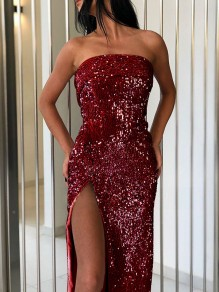 Burgundy Patchwork Sequin Off Shoulder Thigh High Side Slits Sparkly Glitter Birthday Party Maxi Dress